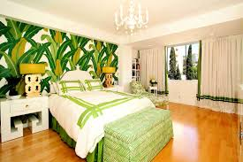 Glorious Green Tropical Palm Beach Wall Decals Added White Green Cover  Sheet And Green Bench On Fake Wood Floors As Decorate In Modern Green Bedroom  Ideas