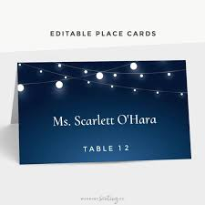 Printable Wedding Place Cards Table Tent Cards String Lights Reception Party Navy Blue Avery Tent Card Template Wedding Name Tags Pdf