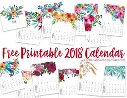 Printable 2018 Monthly Calendar Modern Floral Themed Calendar