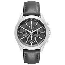 men s watches men s designer watches john lewis buy armani exchange ax2604 men s chronograph leather strap watch black online at johnlewis com
