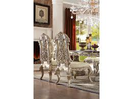 2pcs side chair in antique white silver