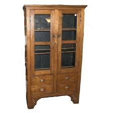 oak cabinet 2 door glass front