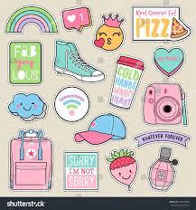 Set of <b>fashion</b> teenage <b>girls</b> patches, cute pastel badges, fun cartoon ...