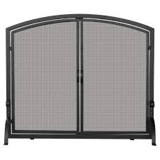 black wrought iron single panel fireplace screen with doors um