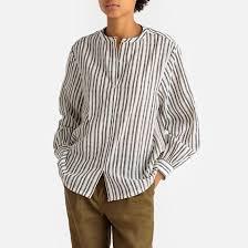 <b>Рубашка</b> с круглым вырезом в полоску и с длинными рукавами ...