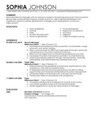 Branch Manager Resume Outathyme Com