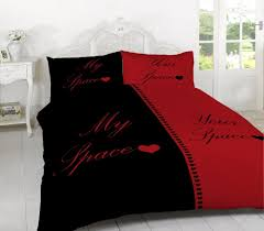 my space your space red and black duvet cover sets available in double king or super king bedding sizes