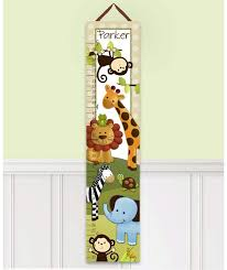 Toad And Lily Growth Chart Jungle Animals Personalized Canvas Growth Chart Products