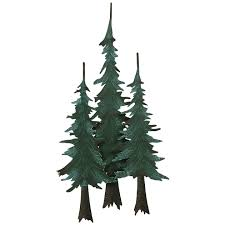 metal pine tree wall sculpture