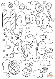 Happy Easter Doodle coloring page | Free Printable Coloring Pages
