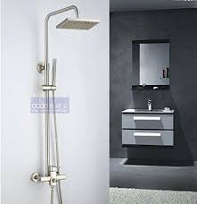 brushed nickel rain shower head mixer faucet set 8 hand spray in on 12