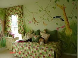Jungle Decoration Interesting Kids Bedroom Jungle Theme With Soft Rugs Wood High