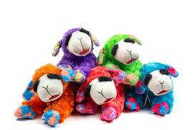 Multipet Plush Lamb Chop Dog Toy With Squeaker Assorted Neon Colors Toy May Vary