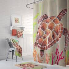 sea turtle shower set tan turtle coastal tan and brown shower curtain