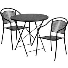 30 round black indoor outdoor steel folding patio table set with 2 round