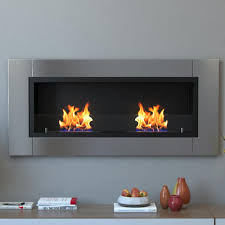 recessed wall mounted ethanol fireplace in stainless steel