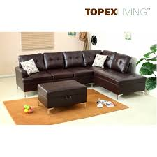 Stylish Sofas Air Leather Brown With Cushionsstylish Sofas With Chaiseottoman
