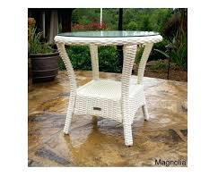 white wicker coffee table white wicker side table outdoor patio all weather furniture tempered glass top white wicker round coffee table