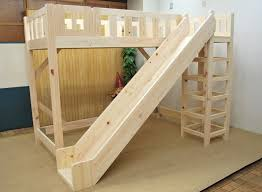 Wooden Loft Bed with Slide. Add ladder and slide to ikea bed.
