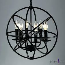 chandeliers cage light chandelier industrial led orb in wrought iron style with globe cage light photo design
