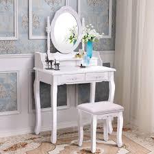 costway white vanity wood makeup dressing table stool set bathroom with mirror 4drawers 0