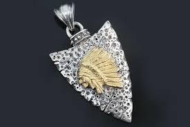 sioux native american oxidized silver bronze pendant pt 072