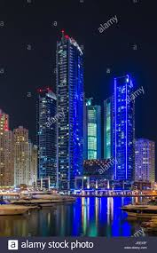 Night Lights Of Marina Bay In Dubai On The Shores Of The