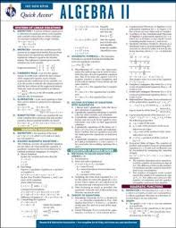 Algebra 2 Quick Access Reference Chart