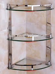 stainless steel corner shower caddy. Fine Corner Stainless Steel Rails Threelayer Clear Glass Corner Shower Caddy Bathroom  Baskets Space Saver In Steel Corner Shower Caddy E
