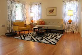 mid century modern living room with b w rugmidcentury living room los angeles