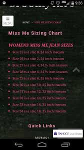 Miss Me Jeans Size Chart 36 Miss Me Jeans Size Chart In 2019 Miss Me Jeans Sizes Miss