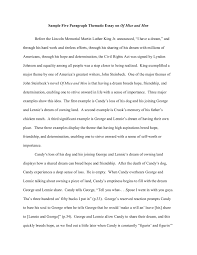 Thematic Essay Examples Sample Five Paragraph Thematic Essay On Of Mice And Men