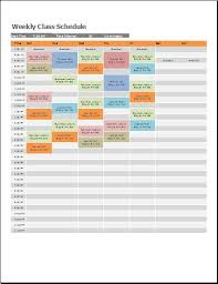 Weekly Class Schedule Template At Wordtemplatesbundle Com