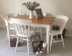 Shabby Chic Farmhouse Table And Chairs Kitchen Dining