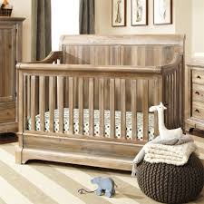 Knitted Puff And Rustic Wood Baby Crib Design Picture