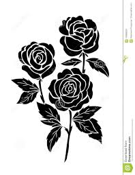 изолированная черная роза иллюстрация татуировки цветка силуэт