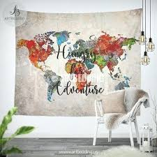 map wall tapestry oil painting world map wall tapestry abstract adventure world map wall hanging bohemian
