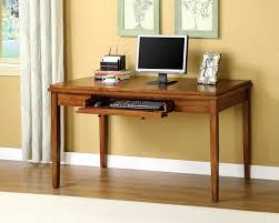 salina oak wood finish console table computer desk with slide out keyboard drawer