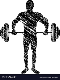 Weights Measures Chart Silhouette Drawing Man Lifting Weights