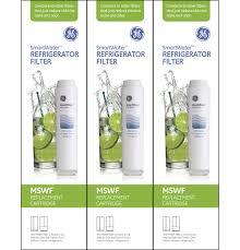 Ge Smartwater Refrigerator Filter Replacement Cartridge Mswf3pk Gear Mswf3pk Refrigerator Water Filter 3 Pack Ge Parts