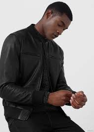 leather er jacket by mango men s black