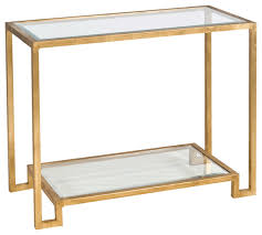 worlds away gold leafed console table with beveled glass shelves lyle g
