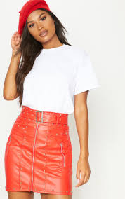 red faux leather stud detail belted mini skirt image 1