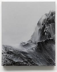 deeply textured mountain paintings by conrad jon ly cube breaker black and white
