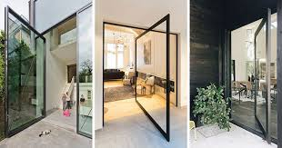 pivoting glass doors are an alternative design idea to a more traditional door and by using