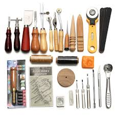 product details of 37pcs leather craft tools kit hand sewing stitching punch carving work saddle intl