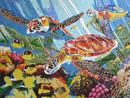 fish glass mosaic mural