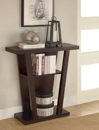 small entry table. Stunning V Shaped Dark Brown Wooden Small Entry Table With Rack L