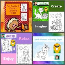 Coloring Pages For Youth Fantasy Bundle By Positive Counseling Tpt