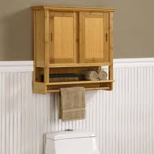 natural wood bathroom wall storage cabinet over the toilet